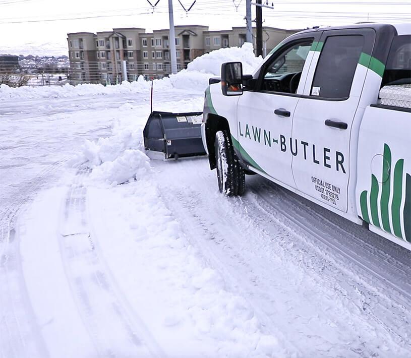 lawn butler winter truck plowing snow